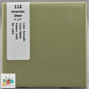 "MMT-112 Vintage 4 1/4"" Ceramic 1 pc Wall Tile AO Avocado Green Matte"