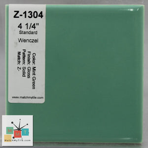 "MMT-1304 Vintage 4 1/4"" Ceramic 1 pc Wall Tile Mint Green Glossy"