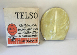 TS-18 Vintage Yellow Pearl Telso Round Regular Bowl Toilet Seat Lid No Hardware