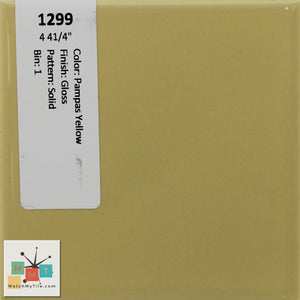 "MMT-1299 Vintage 4 41/4"" Ceramic 1 pc Wall Tile Pampas Yellow Glossy"