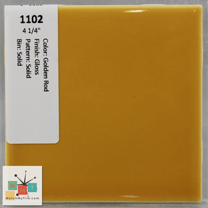 "MMT-1102 Vintage 4 1/4"" Ceramic 1 pc Wall Tile Golden Rod Yellow Glossy"