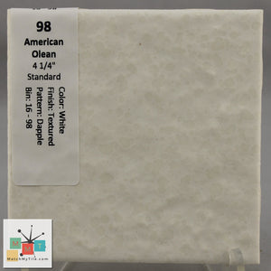 "MMT-98B Vintage 4 1/4"" Ceramic 1 pc Wall Tile AO White Dapple Bullnose"
