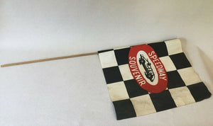 (I-1641) Vintage Speedway Souvenir Checkered Race Flag