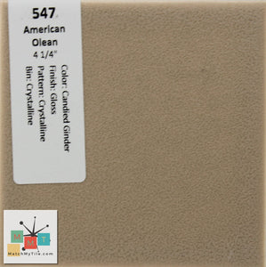 "MMT-547 Vintage 4 1/4"" Ceramic 1 pc Wall Tile AO Ginger Brown Crystalline Glossy"