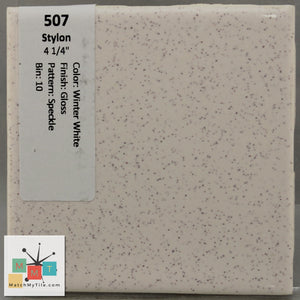 "MMT-507 Vintage 4 1/4"" Ceramic 1 pc Wall Tile Stylon White Speckled Glossy"