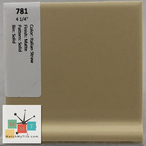 "MMT-781V Vintage 4 1/4"" Ceramic 1 pc Wall Tile Straw Yellow Matte Cove"