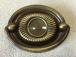 H-29 Vtg Antique English Brass Dresser OVAL Moveable Bail Drawer Pull