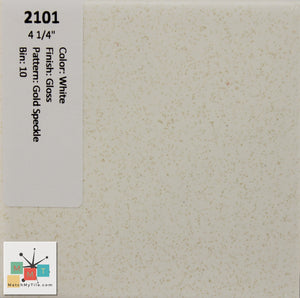 "MMT-2101 Vintage 4 1/4"" Ceramic 1 pc Wall Tile White Gold Speckled Glossy"