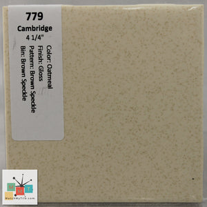 "MMT-779 Vintage 4 1/4"" Ceramic 1 pc Wall Tile Cam Oatmeal Brown Speckled Glossy"