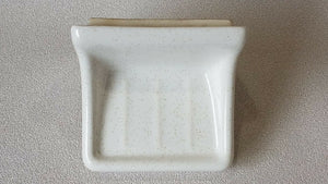BA-1237 NOS Vintage Ceramic Bathroom Soap Dish White w/Gold Speckle Wall Mount