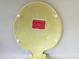 (TS-19) Vintage Yellow Pearl Telso Round Reg. Bowl Toilet Seat w/Lid No Hardware