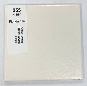 "MMT-255 Vintage 4 3/8"" Ceramic 1 pc Florida Tile White Crystal Glaze"