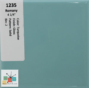 "MMT-1235 Vintage 4 1/4"" Ceramic 1 pc Wall Tile Romany Turquoise Green Glossy"