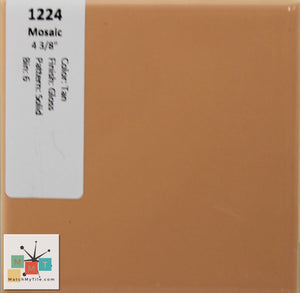 "MMT-1224 Vintage 4 3/8"" Ceramic 1 pc Wall Tile Mosaic Tan Peach Glossy"