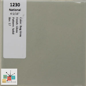 "MMT-1230 Vintage 4 1/4"" Ceramic 1 pc Wall Tile National Bog Gray Glossy"