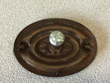 Load image into Gallery viewer, H-27 Vtg Antique English Brass Dresser OVAL Moveable Bail Drawer Pull