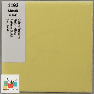 "MMT-1192 Vintage 4 1/4"" Ceramic 1 pc Wall Tile Mosaic Popcorn Yellow Glossy"