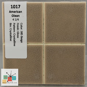 "MMT-1017 Vintage 4 1/4"" Ceramic 1 pc Wall Tile AO 385 Beige Crystal Matte"