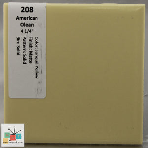 "MMT-208 Vintage 4 1/4"" Ceramic 1 pc Wall Tile AO Jonquil Yellow Matte"