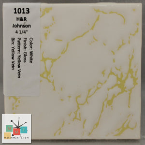 "MMT-1013 Vintage 4 1/4"" Ceramic 1 pc Wall Tile H&R White Yellow Vein Glossy"