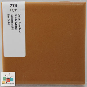 "MMT-774 Vintage 4 3/8"" Ceramic 1 pc Wall Tile Pale Rust Brown Matte"