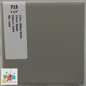 "MMT-715 Vintage 4 1/4"" Ceramic 1 pc Wall Tile Abbey Stone Gray Matte"