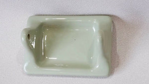 BA-1099 NOS Vintage Ceramic Bathroom SAge Green Toilet Paper Holder 7 x 4 3/4