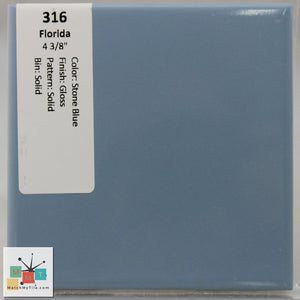 "MMT-316 Vintage 4 3/8"" Ceramic 1 pc Wall Tile FT Stone Blue Glossy"