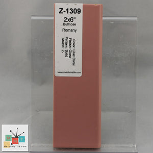 MMT-1309 Vintage Romany Ceramic 2x6 1 pc Wall Tile Lilac Coral Pink Glossy Mudcap