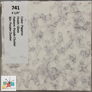 "MMT-741 Vintage 4 1/4"" Ceramic 1 pc Wall Tile Papyrus Purple Cluster Glossy"