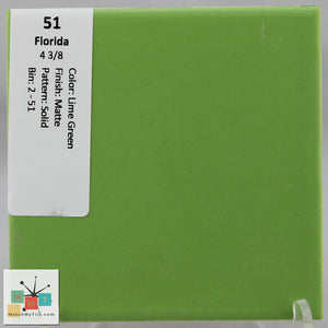 "MMT-51B Vintage 4 3/8"" Ceramic 1 pc Wall Tile FT Lime Green Matte Bullnose"