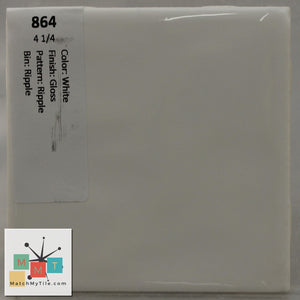 "MMT-864 Vintage 4 1/4"" Ceramic 1 pc Wall Tile White Textured Glossy"