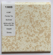"Load image into Gallery viewer, MMT-1398B Vintage 4 3/8"" Ceramic 1 pc Tile FT White Dapple Tan Glossy Bullnose"