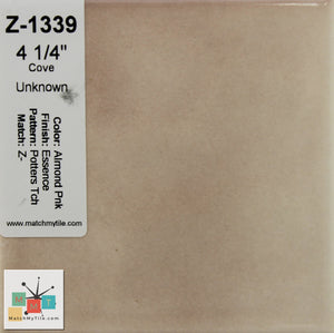 "MMT-1339 Vintage 4 1/4"" Ceramic 1 pc Tile Pink Peach Potters Essence Glossy"