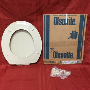 TS-59 NOS Olsonite Toilet Seat w LId Parchment 90 Regular Bowl Top Mount Hinge