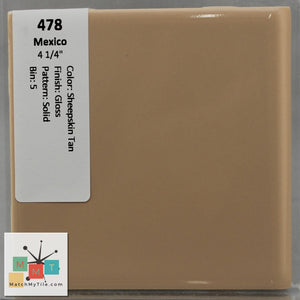 "MMT-478 Vintage 4 1/4"" Ceramic 1 pc Wall Tile Mexico Sheepskin Tan Glossy"