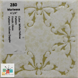 "MMT-280 Vintage 4 1/4"" Ceramic 1 pc Tile Mariwasa White Dapple Yellow Glossy"