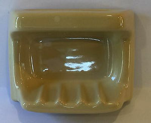 v8-a) Nos Vintage Golden Yellow Bathroom Accessory Soap Dish Grab Handle Glossy