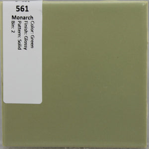 "MMT-561 Vintage 4 1/4"" Ceramic 1 pc Wall Tile Monarch Green Solid Glossy"