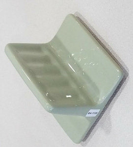 "BA-1135 Nice NOS Vintage Ceramic Bathroom Soap Dish Sage Green 5"" Wall Mount"