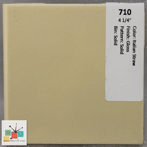 "MMT-71B Vintage 4 1/4"" Ceramic 1 pc Wall Tile Straw Yellow Glossy Bullnose"