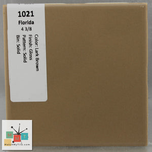"MMT-1021V Vintage 4x6"" Ceramic 1 pc Wall Tile FT Lark Brown Glossy Cove"