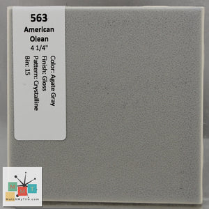 "MMT-563 Vintage 4 1/4"" Ceramic 1 pc Wall Tile AO Agate Gray Crystalline Glossy"