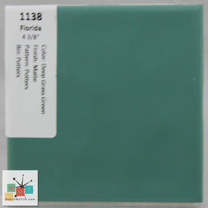 "MMT-1138CC Vintage 4 3/8"" Ceramic 1pc Tile FT Green Potters Matte Corner Cap"