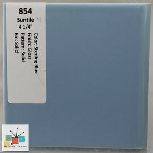 "MMT-854 Vintage 4 1/4"" Ceramic 1 pc Wall Tile Suntile Sterling Blue Glossy"