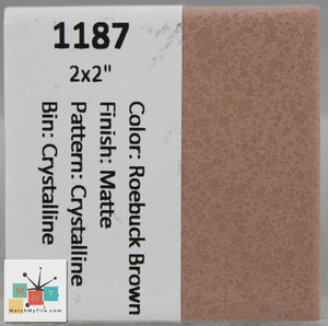 "MMT-1187 Vintage 2x2"" Ceramic 1 pc Wall Tile Roebuck Brown Crystalline Matte"