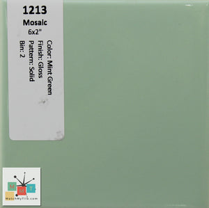 "MMT-1213 Vintage 4 3/4"" Ceramic 1 pc Wall Tile Mosaic Mint Green Glossy"