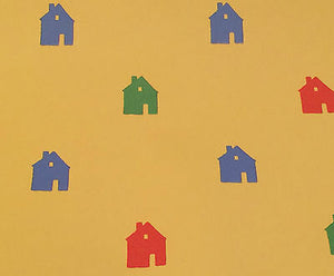I-841) 1 Dr Motif Designs Yellow Background Colored Houses Folk Cute 20.5 X 30'