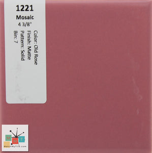 "MMT-1221 Vintage 4 3/8"" Ceramic 1 pc Wall Tile Mosaic Old Rose Pink Matte"