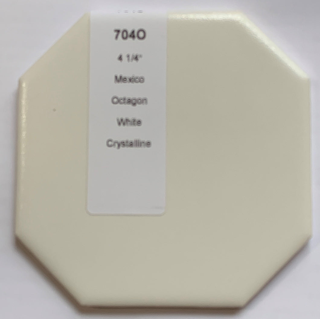 MMT-704O Vintage 4 1/4 Ceramic 1 pc Wall Tile White Textures Crystalline Octagon